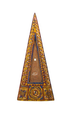 Triangular Tray Wooden Yellow, blue & red, 19th c.
