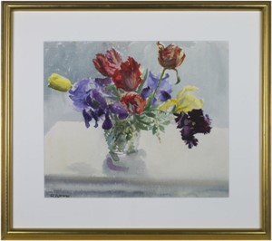 Vase of Parrot Tulips & Irises, 1974