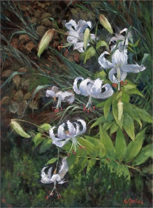 White Lilies by Sue Foell, opa