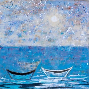 Boat Series: Three Dories with Moon Light