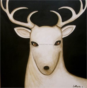 "NIGHT SKY/SINGLE WHITE DEER giclee on canvas Large 40""x40"" $2800 or Medium 30""x30"" $2200"