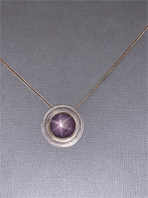 """Pendant - Sterling Silver With Star Ruby Set In Gold Bezel.  20"""" Sterling Silver Square Wheat Chain  AS 054, 2019"""