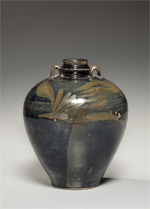 BLACK GLAZED JAR WITH BROWN FLORAL SPLASHES AND RING HANDLES, Chinese, Henan, 13th century