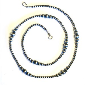 "Necklace - 36"" Graduated Antiqued Sterling Silver Beads"