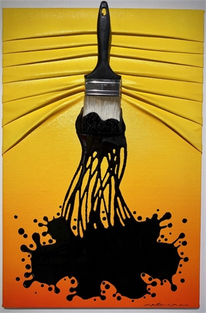 """Let's Paint"" small, Black Splash on Yellow/Orange, 2019"