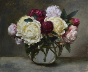 White, Pink and Magenta Peonies in Globe Vase