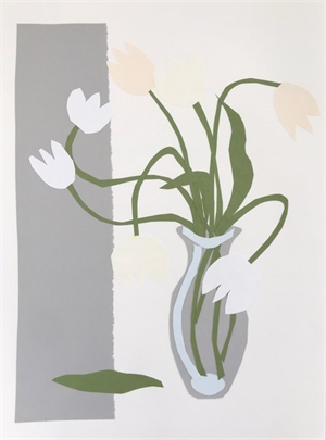 Collage, White Tulips in Gray Vase I, 2019