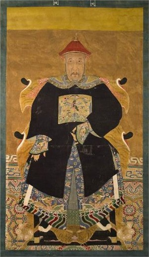 CHINESE ANCESTRAL SCROLL PAINTING OF A CIVIL OFFICIAL, 7th RANK, Chinese, 19th century