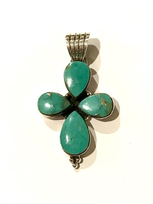 Pendant - Turquoise Mod Flower w/Sterling Silver, 2019