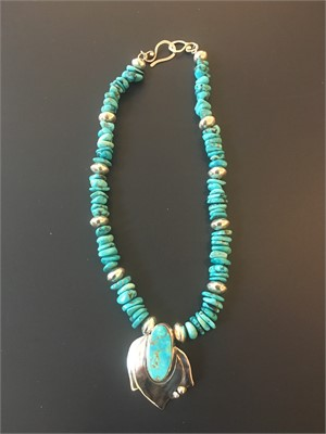 Sterling Tibetan Turquoise Beads,Old Battle MT Turquoise Sterling Pendent