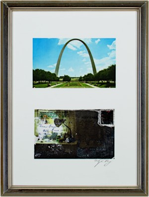 Gateway Arch, St. Louis, MO after original postcard (front&back), 2009
