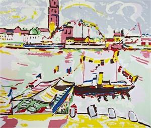 Landscape-Harbor Scene (pink)