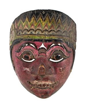 Mask, Round Eyes, fangs, beet red face, 19th Century