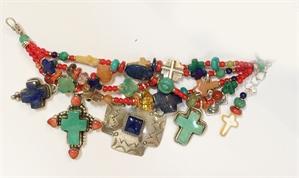 KY 1345 - 4 Strand Multi Color Cross Bracelet, 2020