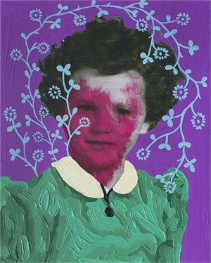 Untitled (Magenta Girl and Aqua Pattern), 2019