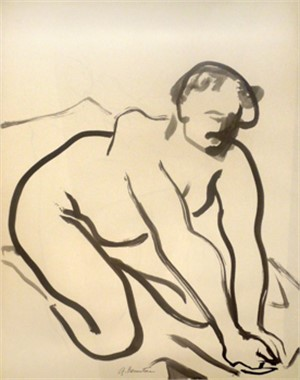 Crouching Nude with Arms in Front