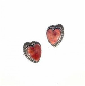 Earrings - Sterling Silver Post & Spiny Oyster Heart  1574