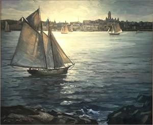 Backlight on Gloucester Harbor