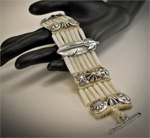 Bracelet - Dentalium & Feather#31527