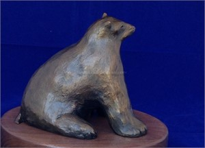 Small Polar Bear - Bronze with Swivel Base