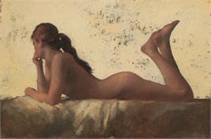 Nude Reclining, Gold by Michael Alford