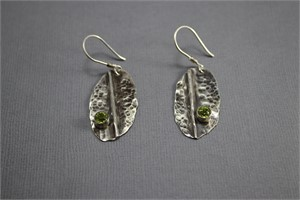 Earrings - Sterling silver forged, textured, fold formed with Peridot  AS 009, 2018