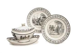 ASSEMBLED FRENCH CREAMWARE TRANSFER-PRINTED PART DESSERT SERVICE