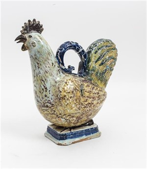 ENGLISH CERAMIC FIGURE OF ROOSTER, English, 19th/20th century