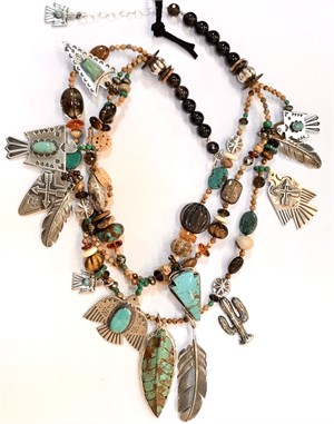 KY 1295 - 3 Strand Thunderbird Necklace With Picture Jasper, Turquoise,Smoky Quartz with Sterling Silver, 2019
