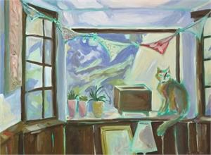 Alpine on His Window Seat by Amanda Tanner