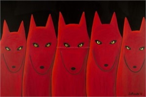 "FIVE RED WOLVES - limited edition giclee on canvas: (large) 40""x60"" $3500 or (medium) 30""x40"" $2200"