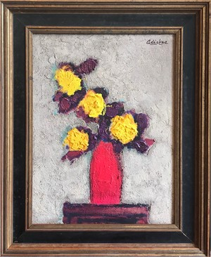 Yellow Flowers, Red Vase