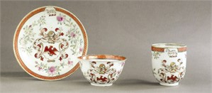 ARMORIAL TEABOWL, COFFEE CUP AND SAUCER , Chinese, circa 1735