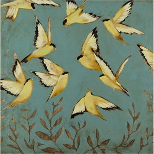 Finches In Flight 36x36