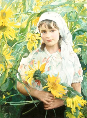 Anna Lebedeva, A Girl With Sunflowers