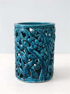 TURQUOISE GLAZED BAMBOO AND PRUNUS BRANCH FORM BRUSHPOT, Qing Dynasty, Kangxi Period (1662-1722)