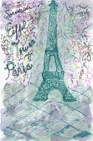 Postage Stamp/Postcard Series: Eiffel Tower Paris Souvenir, 2018