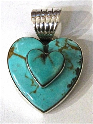 Pendant - Sterling Silver & Double Turquoise Heart