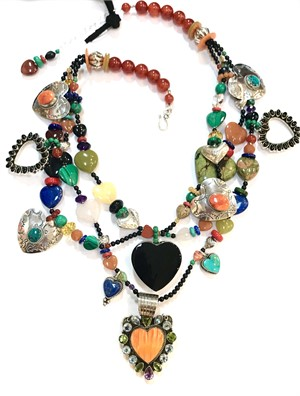 KY 1296 - 3 Strand Onyx Heart Multi Color Necklace with Sterling Silver, 2019