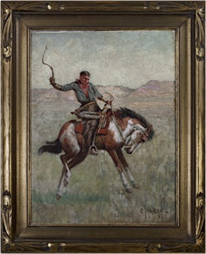 Cowboy on Horseback (To be sold as pair with 11059g-Native American on Horseback), c.1880's