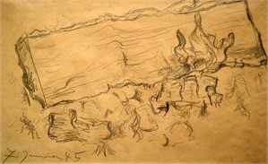 Fireplace Study, 1945