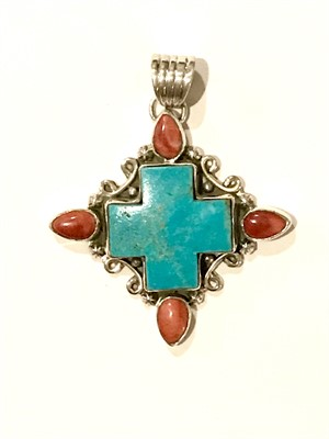 Pendant - Square Turquoise Cross with Spiny Oyster Teardrops, 2019