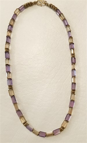 Necklace - Amethyst, Citrine & Gold Vermeil  #7762, 2019