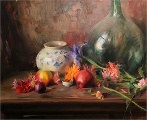 Still Life with Green Glass, Florals, and Fruit