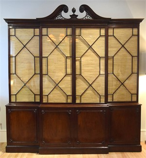 GEORGE III CARVED MAHOGANY BREAKFRONT BOOKCASE ATTRIB. TO CHIPPENDALE, English, 18th century