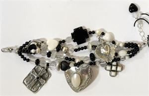KY 1337 - Four Strand Black Onyx, Roc Crystal Heart & Cross Bracelet, 2020