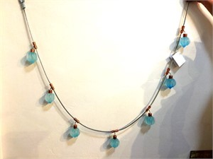 Hanging Drape - Lite Blue Cast Glass Pendants