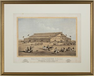 Exterior View of Coliseum For the Grand National Peace Jubilee, New England Litho Company, 1869