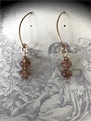 Earrings - Strawbery Quartz & Rose Gold Vermeil  #8660, 2020