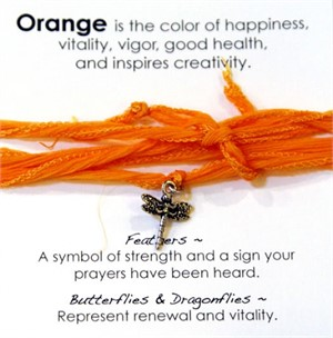 Bracelet - Dragonfly Orange Silk Wrap